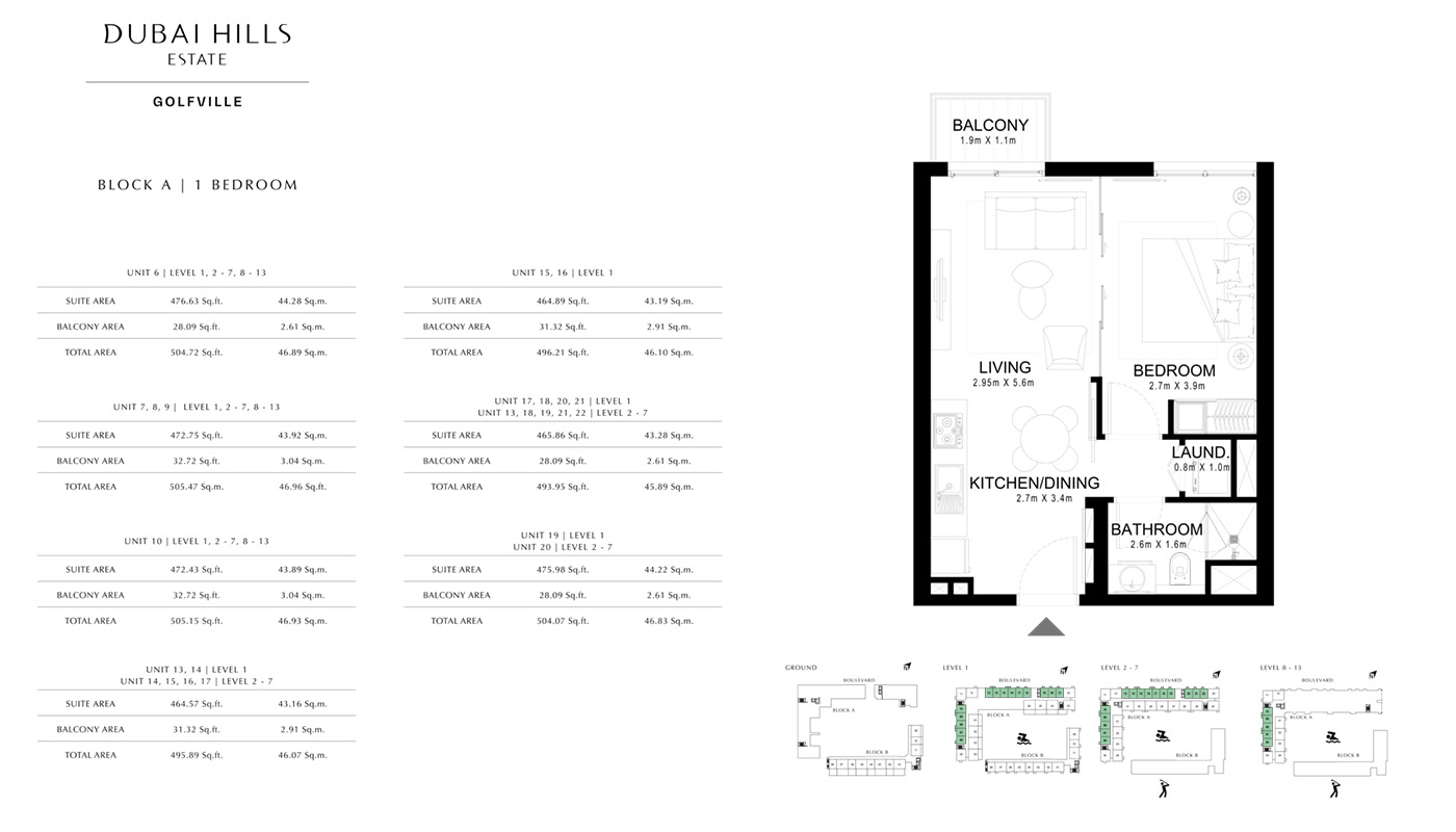 1 Bedroom Type A, Size 695 sqft